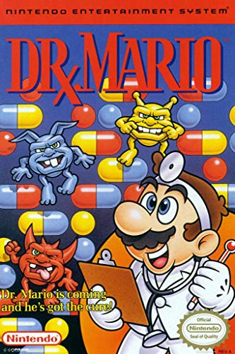 Pyramid America Laminated Dr Mario Super Nintendo NES Game Series Box Art Yoshi Luigi Princess Print Sign Poster 12x18 inch