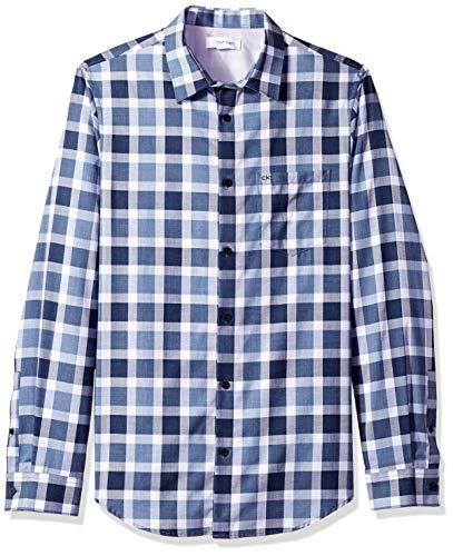 Calvin Klein Mens Light Plaid Long-Sleeve Button Down Shirt