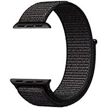 QIENGO XMS594 Qifit New Nylon Sport Loop with Hook and Loop Fastener Adjustable Closure Wrist Strap Replacment Band for iwatch Apple Watch Series 1 /2 / 3,42mm,Black ( Pinkish Weave Color in )