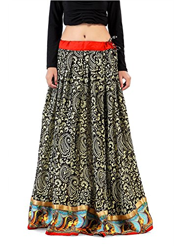 Indian Handicrfats Export Admyrin Women Black and Cream Georgette Skirt
