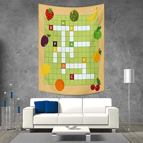smallbeefly Word Search Puzzle Wall Hanging Tapestries Vivid Graphic Summer Fruits with Educational Crossword Game for Kids Large tablecloths 70W x 93L INCH Multicolor