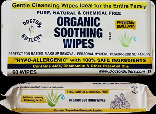 Doctor Butler's Organic All Natural Chemical Free Soothing Wipes. Anytime use for Babies and The Entire Family (Single Pack Contains 60 Wipes)