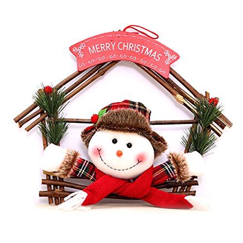 ShineMe Cute Snowman Wreath Merry Christmas Holiday Gift Hanging Santa Orion Rings Ornaments for Home Door Garden seasonal Decor (Snowman)