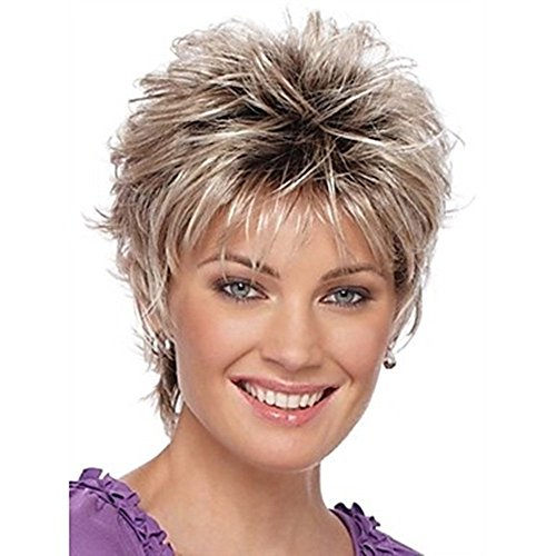 Ombre Women Wigs Blonde Dark Roots Short Wavy Synthetic Hair Wig with Bangs for Women