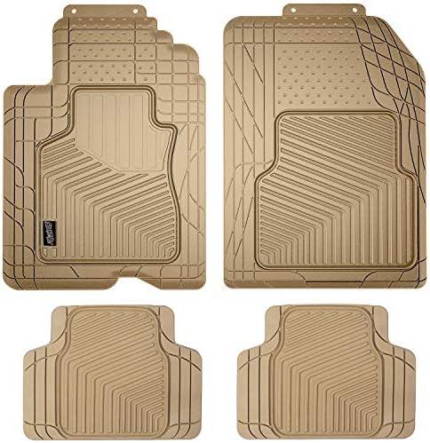 SMART FIT 79926 4-Piece Tan Rubber Universal Car Floor Mat Set