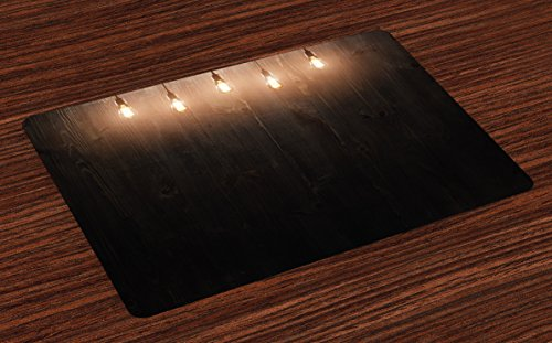 Ambesonne Industrial Place Mats Set of 4, Wooden Dark Interior Room with Classical Edison Innovation, Washable Fabric Placemats for Dining Room Kitchen Table Decor, Dark Brown Yellow and Cinnamon