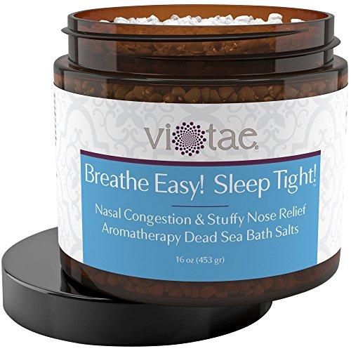Vi-Tae 100% Natural Dead Sea Mineral Bath Salts Aromatherapy For Nasal Congestion 'Breathe Easy! Sleep Tight!' 16oz Jar Bath Sea Salt Jar