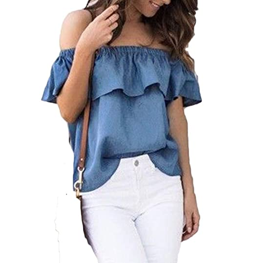 a3b6510e40257 Women Lady Sexy Off Shoulder Casual Slim Ruffle Denim Blouse Tops at Amazon  Women s Clothing store