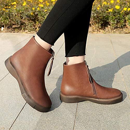 Épaisses Chaussures Bottes Chaussures Étudiants Marron Martin Plates Courtes Femmes Bottines BaZhaHei Boots Femmes 4Hwn1g1Pq