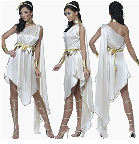 [Stuffwholesale Halloween Party Costume Role-playing Games Greek Goddess Princess Dress with Jewelry] (Et Halloween Costume)