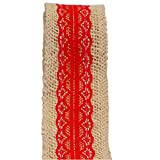 Best Mason Jar With Burlap Tops - Red Lace on Jute Burlap Ribbon Roll 2
