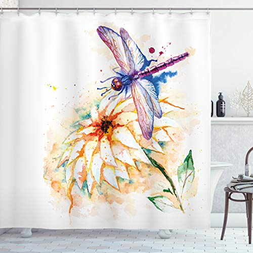 Ambesonne Dragonfly Shower Curtain, Watercolor Lily Flower and Flying Bug Over It Nature Spring Theme Print, Cloth Fabric Bathroom Decor Set with Hooks, 84