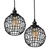 Rustic State Globe Vintage Design Metal Light Cage Guard – Decorative Lamp Shade Black Set of 2