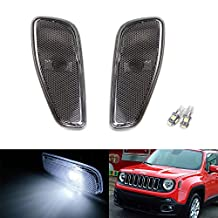 iJDMTOY (2) Left & Right Smoked Lens Side Marker Lamps w/ Xenon White LED Replacement Bulbs For 2015-up Jeep Renegade