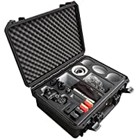 Professional transport case for Panasonic Lumix GH5 – with a lot of space for accessories such as 3 lenses, 5 battery packs, various cables and adapters and more by MC-CASES