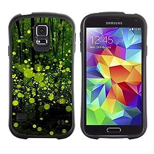 All-Round híbrido de goma duro caso cubierta protectora Accesorio Generación-I BY RAYDREAMMM - Samsung Galaxy S5 SM-G900 - Green Bubbles Abstract Forest Nature