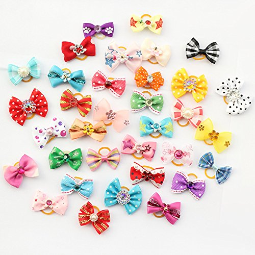 20 Pcs Armi Store Handmade Pet Grooming Accessories Products Dog Bow Hair Little Flower Bows