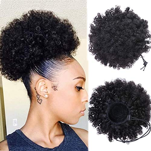 Dula a Afro Kinky Curly Puff Human Hair Ponytail Extension For Black Women Drawstring Curly African American Human Hair With Double Clips String In Hair 8 Inch ()