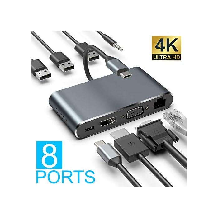 51yJ6ZhLZZL Haz clic aquí para comprobar si este producto es compatible con tu modelo 【Multipuerto USB C Hub】Este concentrador USB C plug-and-play incluye 3 puertos USB-A 3.0, HDMI 4K @ 30Hz, salida de video VGA 1080P @ 60Hz, puerto Ethernet 1000M, conector de audio de 3.5mm y puerto PD tipo C de hasta 100W.( Nota: Este concentrador no es compatible con dispositivos sin Thunderbolt 3. La Surface no era adecuada.) 【Salida Ultra HD 4K y 1080P】 Con este centro de acoplamiento, su teléfono inteligente, PC puede conectarse a una pantalla grande o proyector a través de HDMI o VGA para una experiencia cinematográfica. ¡Disfruta de la experiencia visual del juego / película / fútbol 4K y 1080P en lugar de la pantalla pequeña! Nota: Cuando los puertos de salida HDMI y VGA funcionan simultáneamente, la resolución máxima de ambos puertos es 1080P. (El modo extendido solo funciona para la computadora portátil).