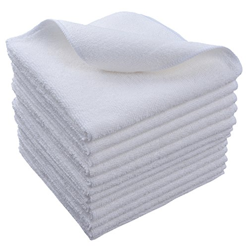 Sinland Microfiber Cleaning Cloth Dish Cloth Kitchen Streak Free Absorbent Dish Rags Lens Cloths 12Inchx12Inch 12 Pack White