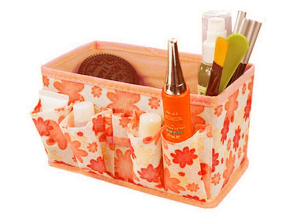 Women Professional Makeup Train Case, Cosmetic Storage Organizer Travel Bag Storage Box Bag Bright Foldable Stationary Container (18 x 10.6 x 10 cm, D)