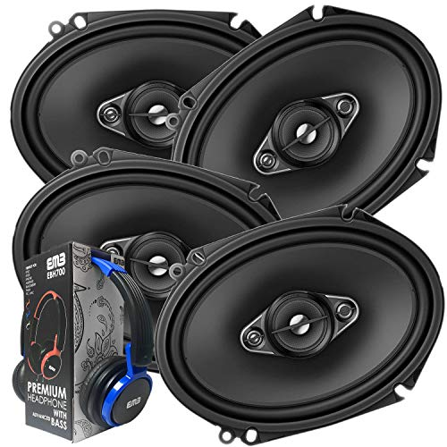 2 Pairs of Pioneer 5x7/ 6x8 Inch 4-Way 350 Watt Car Audio Speakers | TS-A6880F (4 Speakers) + Free EMB Premium Headphone (Best 6x8 Door Speakers)