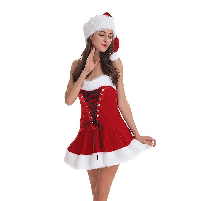Amazon.com: Disfraz de Papá Noel para mujer, disfraz de la ...