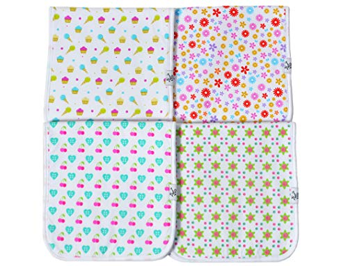 Baby Burp Cloths, Premium Quality, 4 Pack Exclusive Unisex Design, Large Size 21''x10'', 100% Organic Cotton, Thick & Absorbent, Triple Layer, Super Soft, Burping Rags for Newborns, Gift Set by Vio by Vio