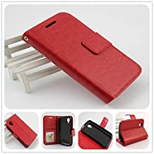 For BLU Dash C Music D380U / D380L and BLU Dash Music Jr D390 PERFECT FIT Luxury Leather Wallet Case with ID Showing Window (Red)