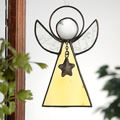 J Devlin Orn 215-4 Stained Glass Angel Ornament or Window Suncatcher (Iridized White Stained Glass)