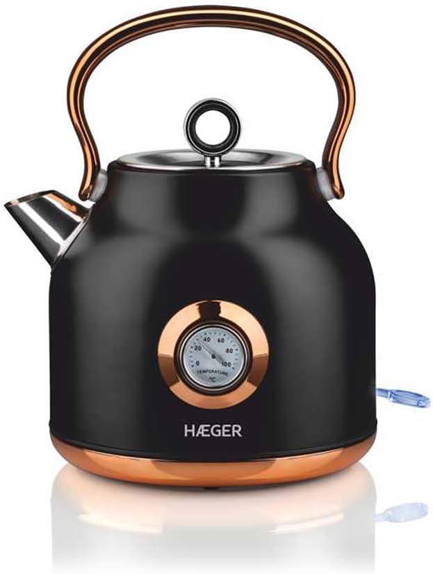 HAEGER ART DECO BLACK - Hervidor electrico en Acero Inox, 1.7 Litros, 2200W, Sistema sin cables y Base giratoria de 360º, Resistencia oculta, Protección contra el sobrecalentamiento