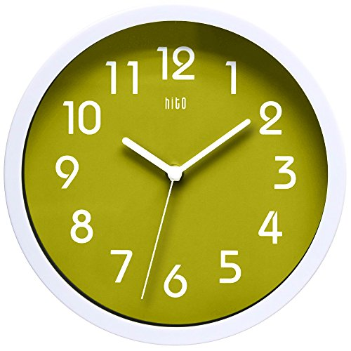 hito Silent Wall Clock, 10 inch Non ticking Excellent Accurate Sweep Movement Glass Cover, Decorative for Kitchen, Living Room, Bathroom, Bedroom, Office (Green Glass Wall)
