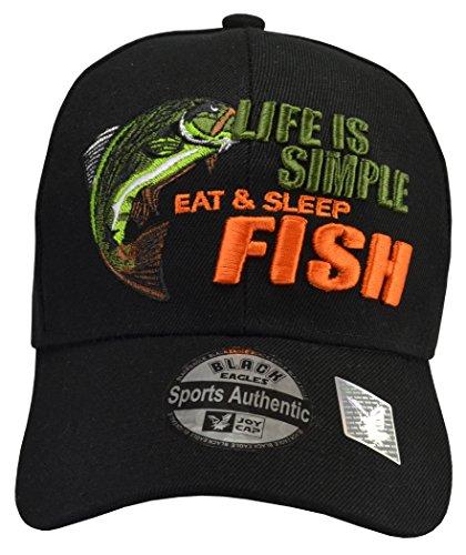 Life is Simple Fish Hat Black -