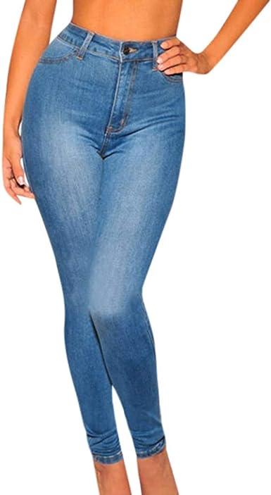 Zezkt Slim Fit Pantalones Altos Mujer Pantalones De Mezclillade Mujer Pantalones Vaqueros Mujer Jeans Ajustados De Cintura Alta Leggings Elasticos Jeans Para Mujer Corte Ajustado Vaqueros Amazon Es Ropa Y Accesorios