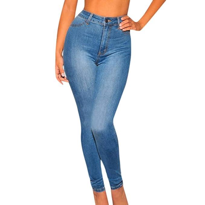 ZEZKT Slim fit Pantalones Altos Mujer Pantalones de ...