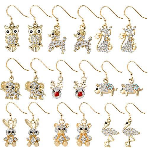 Animal Earrings Set for Women Girls Kids - Gold Rhinestone Drop Dangle Earings Jewelry Owl Elephant Dog Deer Flamingo Pig Cat Rabbit Bear Gifts(9 Pairs)