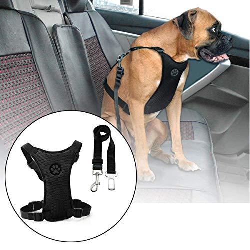 Casavidas Size L Air Mesh Dog Car Seat Belt Adjustable Harness with Clip Lead Pet Travel