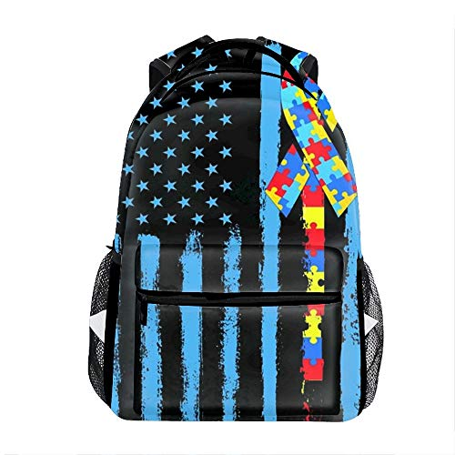 Autism Awareness Puzzle American Flag School Bookbags for Girls, Cute Casual Backpack College Bags Women Daypack Travel Bag