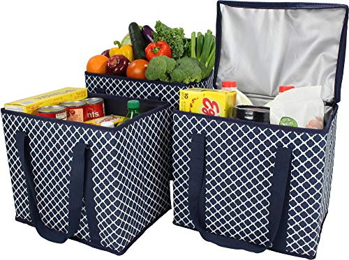 (3Pack) 1 Zippered Insulated Grocery Bag + 2 Open Reusable Shopping Bags Heavy Duty, Thick Reinforced Bottoms, Grocery…