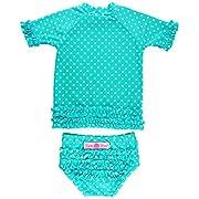 RuffleButts Little Girls Rash Guard 2-Piece Swimsuit Set - Aqua Polka Dot Bikini with UPF 50+ Sun Protection - 6-12m