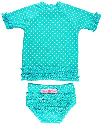 RuffleButts Baby/Toddler Girls Rash Guard 2-Piece Swimsuit Set - Aqua Polka Dot Bikini with UPF 50+ Sun Protection - 12-18m