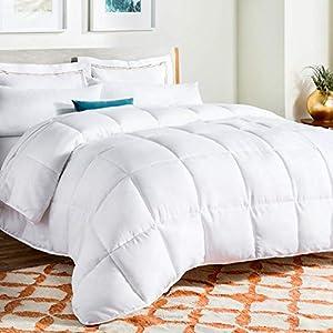 Linenspa All-Season White Down Alternative Quilted Comforter – Corner Duvet Tabs – Hypoallergenic – Plush Microfiber…