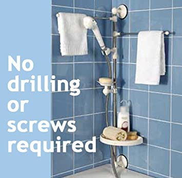 Shower Caddy   Organiser Set, No Drilling Or Screws Required. Includes  Towel Rack,