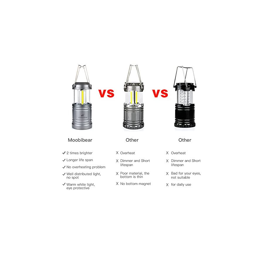 LED Camping Lantern Lights Collapsible Moobibear 500lm COB Technology LED Storm & Power Outage Lantern Battery Powered with Magnetic Base for Night, Fishing, Hiking, Emergencies, 2 Pack