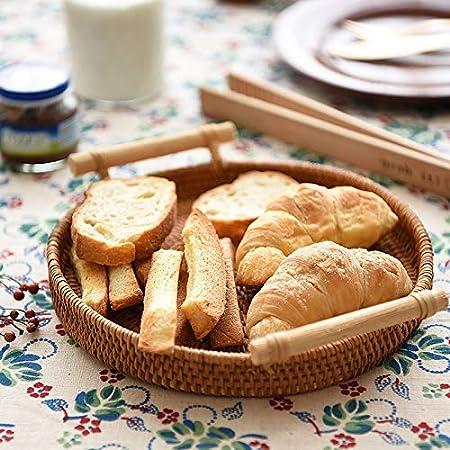 Pan y Pastele 32cm DOKOT Bandeja Redonda de Rat/án Tejida a Mano con Asas para Pasteles