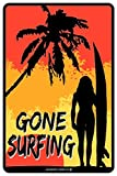 Gone Surfing Aluminum Tin Metal Poster Sign Wall Decor 12x18