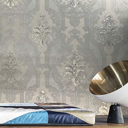113 sq.ft rolls paste the wall only Embossed Slavyanski wallcoverings vintage victorian damask pattern Vinyl Non-Woven Wallpaper ivory silver metallic textured gold glitters modern design coverings 3D
