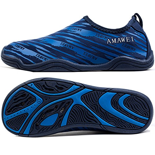 AMAWEI Quick Dry Water Shoes for Boys Girls Kids Rubber Sole Slip-on Swimming Pool Beach Sports Aqua Sneakers (32, 03.Blue)