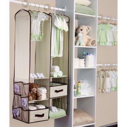 Beige Baby Nursery Hanging Closet Storage Organizer Bin Spacesaving Drawer Set