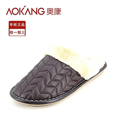LaxBa Femmes Hommes chauds dhiver Chaussons peluche antiglisse intérieur Cotton-Padded Slipper Shoes Mens coffeeMen 44-45